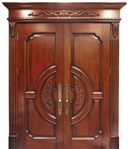 木质雕花对开门